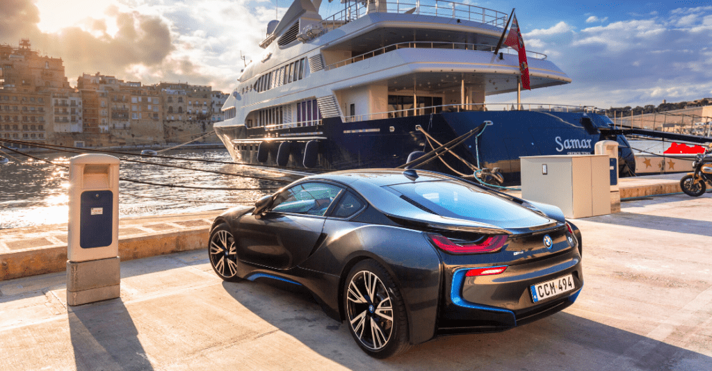 An image of a parked BMW i8