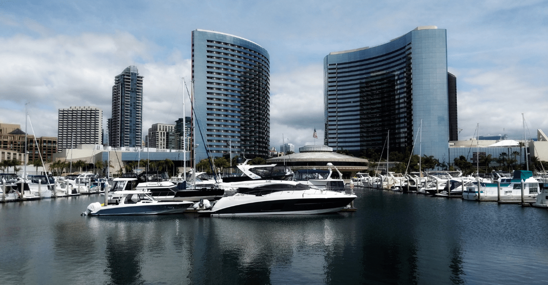 A yacht charter sits in the San Diego harbor.