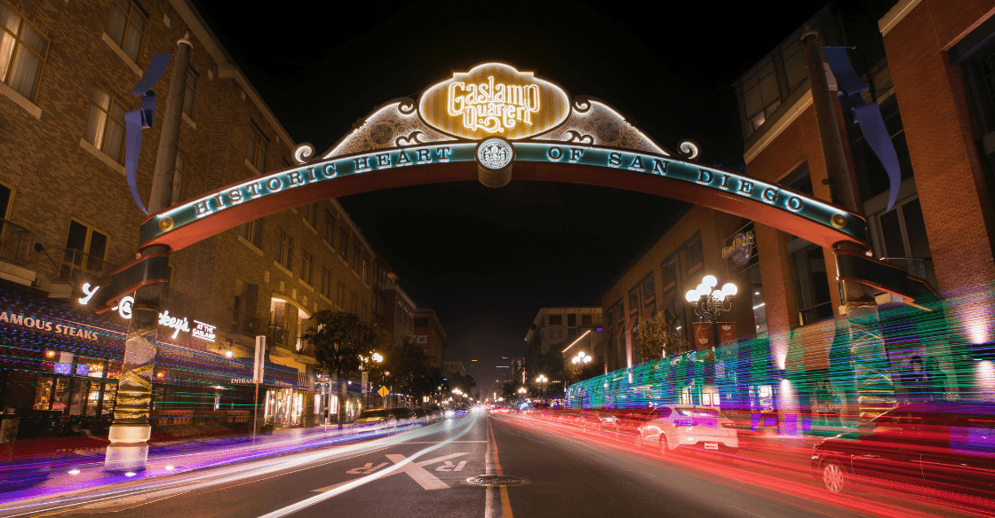 The Gaslamp sign in downtown San Diego, a popular place to go in San Diego.