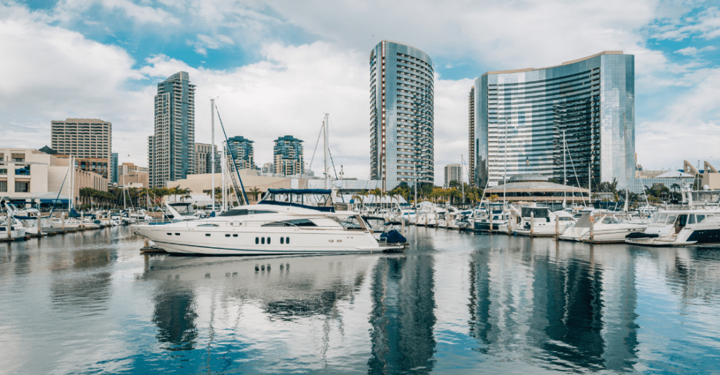 A yacht charter in the San Diego marina at the Embarcadero.