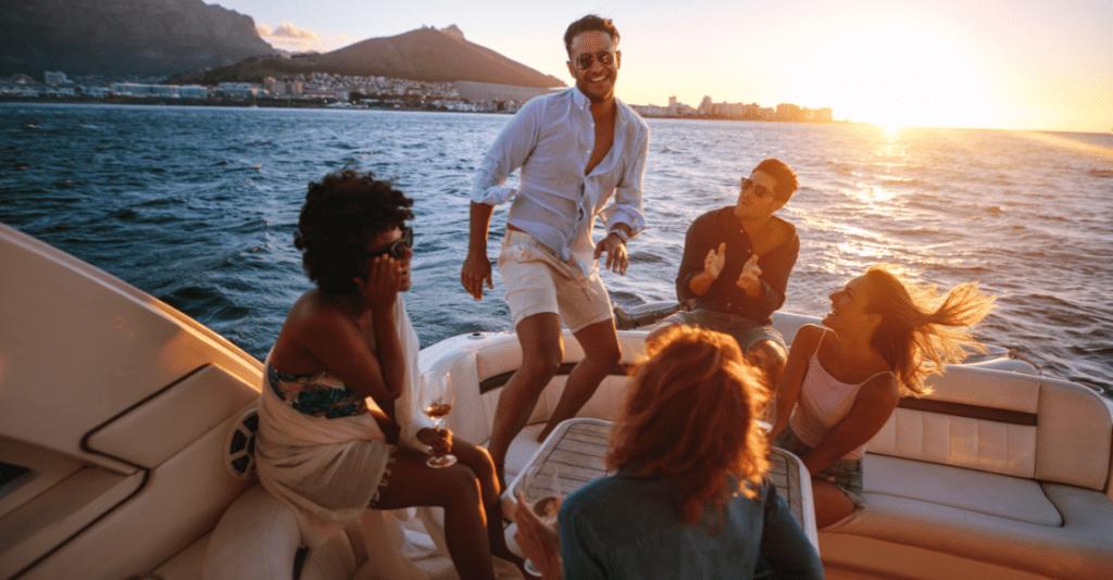 Group of friends enjoying a yacht charter.