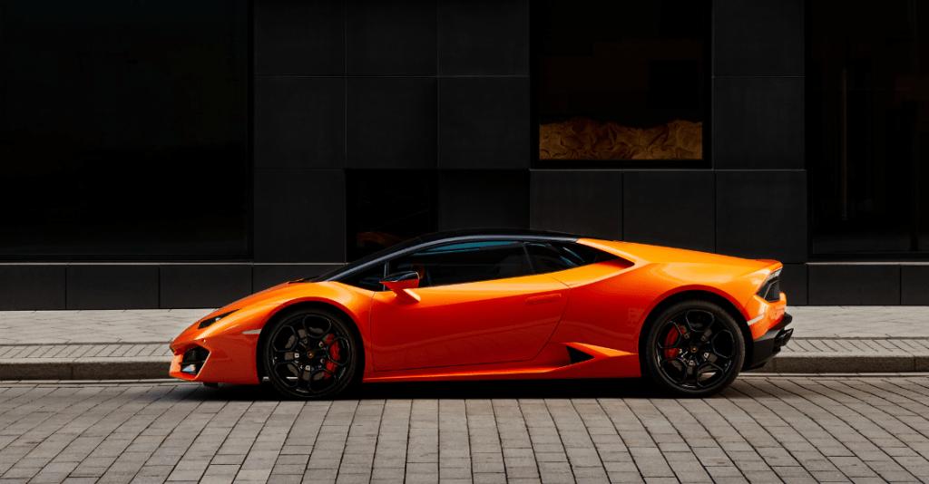 A parked luxury car rental